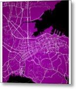 Dalian Street Map - Dalian China Road Map Art On A Purple Backgro Metal Print