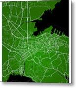 Dalian Street Map - Dalian China Road Map Art On Green Backgro Metal Print