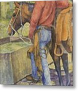 dallas and Rosco at the Holding Pasture Tank Metal Print