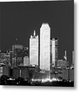 Dallas Skyline Bw 113017 Metal Print