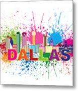 Dallas Skyline Paint Splatter Text Illustration Metal Print