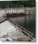 Dam Repairs  Along The Androscoggin River Metal Print