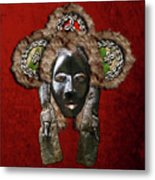 Dan Dean-gle Mask Of The Ivory Coast And Liberia On Red Velvet Metal Print by Serge Averbukh