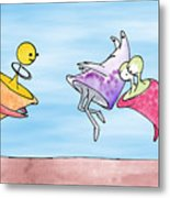 Dance Party Monsters Watercolor Metal Print