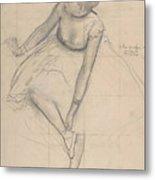 Dancer Adjusting Her Slipper Metal Print