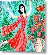 Dancer In Red Sari Metal Print