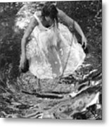Dancer In White Dress In Shallow Water Metal Print