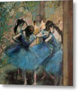 Dancers In Blue Metal Print by Edgar Degas