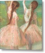 Dancers In Pink Metal Print by Edgar Degas