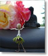 Dancing Before Buddha And Roses Metal Print
