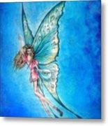 Dancing Fairy In Blue Sky Metal Print