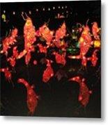 Dancing Goldfish Pond At Night Metal Print