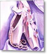 Dancing Pearls Ballet Slippers  Metal Print