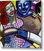 Dancing With A Blue Man Metal Print