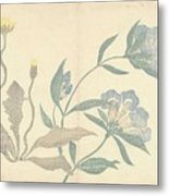 Dandelions And Blue Flowers, Nakamura Hochu, 1826 Metal Print