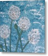 Dandelions Blowing In The Wind Metal Print