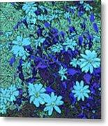 Dandy Digital Daisies In Blue Metal Print