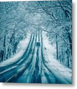 Dangerous Slippery And Icy Road Conditions Metal Print