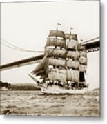 Danmark Sailing Under The Golden Gate Bridge San Francisco Metal Print
