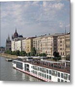 Danube Riverside With Old Buildings Budapest Hungary Metal Print