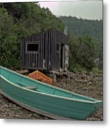 Dark Harbour Fisherman Shack And Boat Metal Print