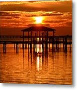 0209 Dark Orange Sunrise On Sound Metal Print