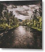 Dark River Woods Metal Print