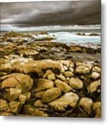 Dark Skies On Ocean Shores Metal Print