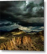 Dark Storm Clouds Over Cliffs Metal Print