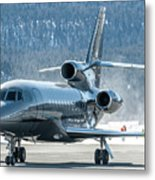Dassault Falcon 900 Parking With Marshaller Metal Print