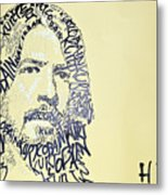 Dave Grohl Word Portrait With The Word Kurt Cobain Metal Print