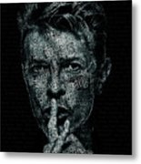 David Bowie Text Portrait - Typographic Poster With Album Titles And Background With Songs Names Metal Print