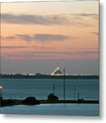 Dawn At The Sunshine Skyway Bridge Viewed From Tierra Verde Florida Metal Print