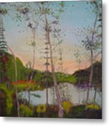 Dawn By The Pond Metal Print