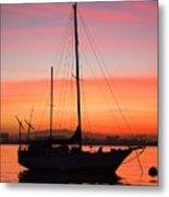 Dawn Of The Sailboat Metal Print