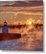 Dawn Peeking Over At Derby Lighthouse Metal Print