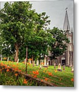 Day Lilies By A Church  Metal Print