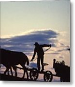 Day's End Amish Farmer Barnhill Metal Print
