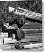 Ddp Djd B And W 1880s Log Cabin Ruins Montana 2 Metal Print