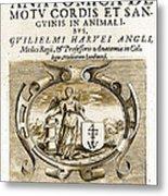 De Motu Cordis, Title Page, William Metal Print