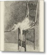 Dead Flamingo With The Legs Tied To The Handrail Of A Chair, Adriaan Pit, 1870 - 1896 Metal Print