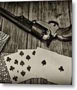 Dead Mans Hand Black And White Metal Print