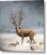 Deer Cool Tone Metal Print