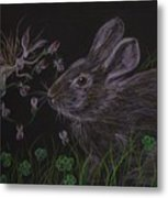 Dearest Bunny Eat The Clover And Let The Garden Be Metal Print
