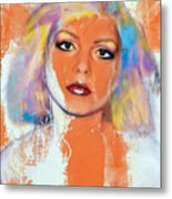 Debbie Harry - Orange Funky Grunge Metal Print