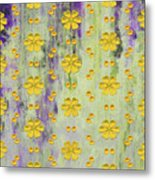 Decadent Urban Bright Yellow Patterned Purple Abstract Design Metal Print