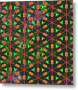 Decadent Urban Orange Green Patterned Abstract Design Metal Print