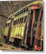 Decaying Trolley Cars Metal Print