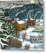 December Village Silk Painting Metal Print