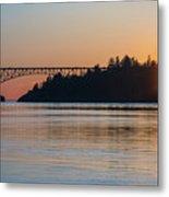 Deception Pass Bridge Sunset Sunstar Metal Print